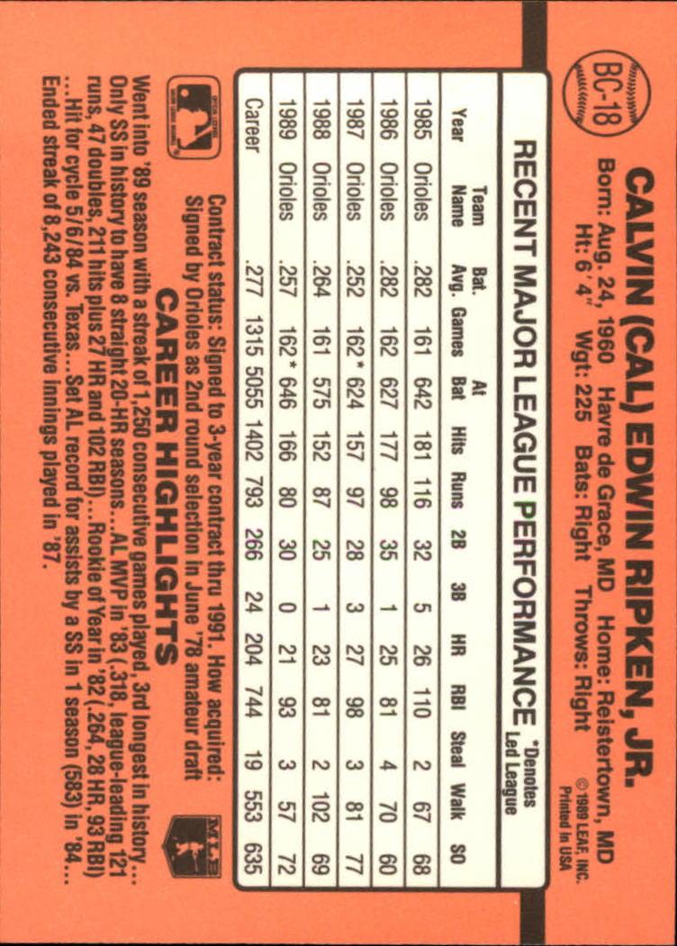 1990 Donruss Bonus MVP's #BC18 Cal Ripken back image