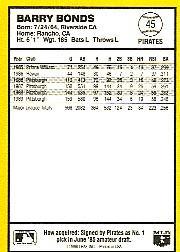 1990 Donruss Best NL #45 Barry Bonds back image