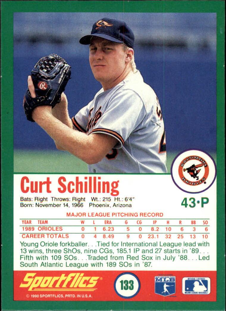1990 Sportflics #133 Curt Schilling back image