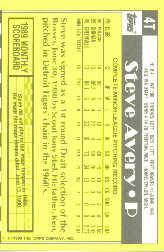 1990 Topps Traded Tiffany #4T Steve Avery back image