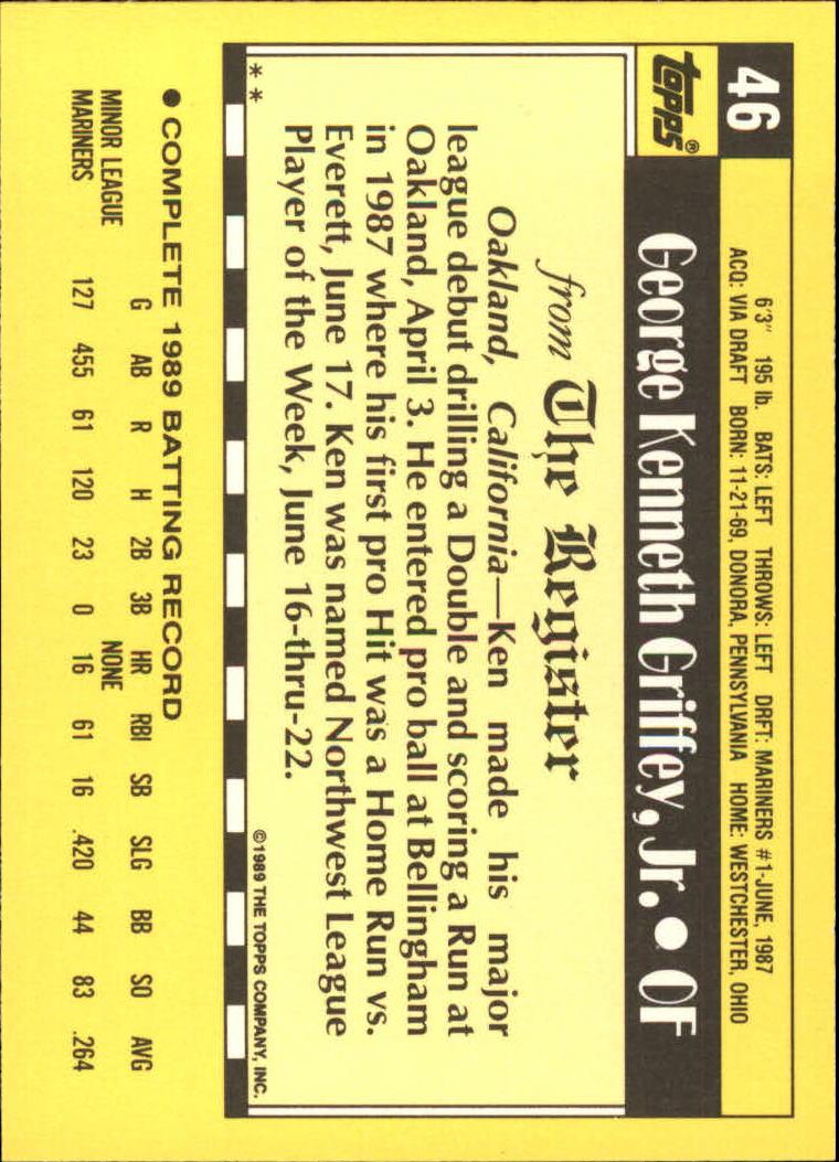 1990 Topps Debut '89 #46 Ken Griffey Jr. back image