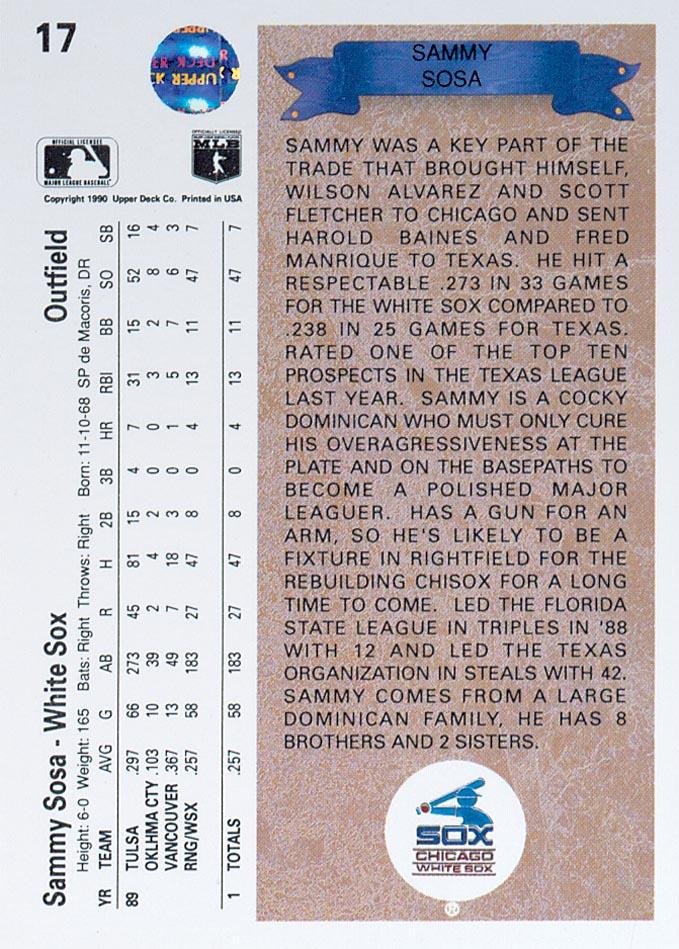 1990 Upper Deck #17 Sammy Sosa RC back image