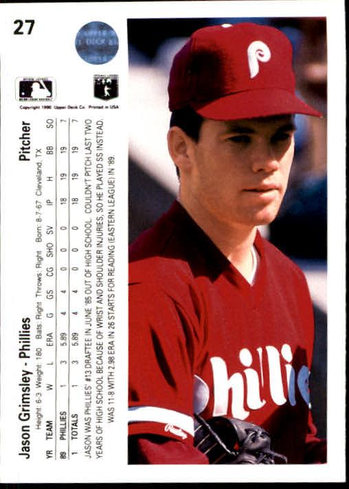 1990 Upper Deck #27 Jason Grimsley RC back image