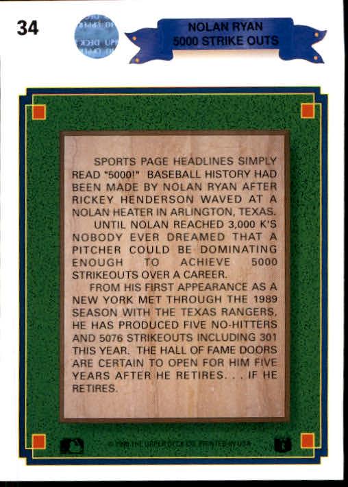 1990 Upper Deck #34 Nolan Ryan Special back image