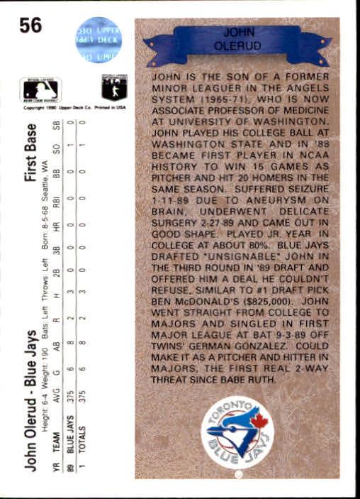 1990 Upper Deck #56 John Olerud RC back image