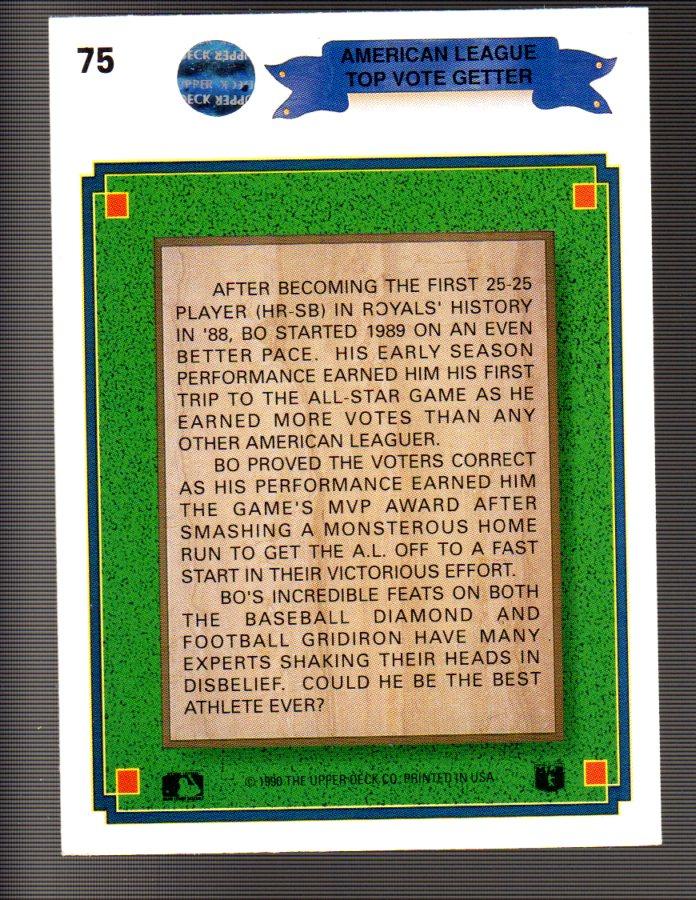 1990 Upper Deck #75 Bo Jackson Special/UER Monsterous/should be monstrous back image