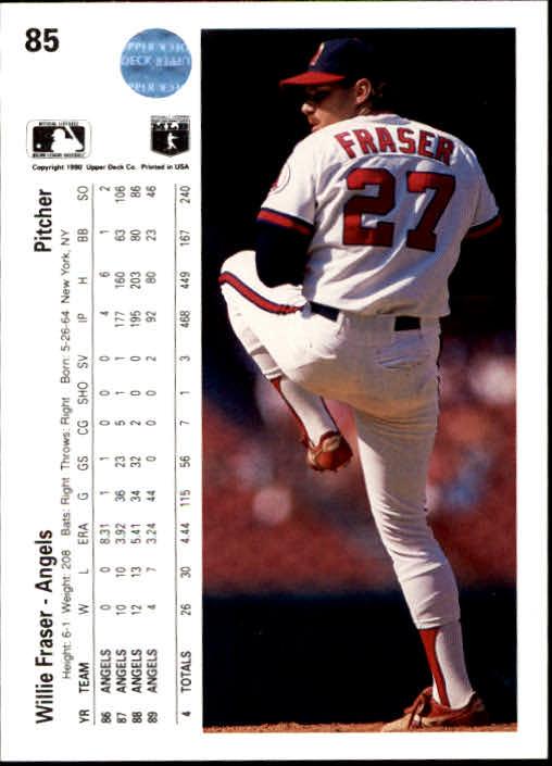 1990 Upper Deck #85 Willie Fraser back image