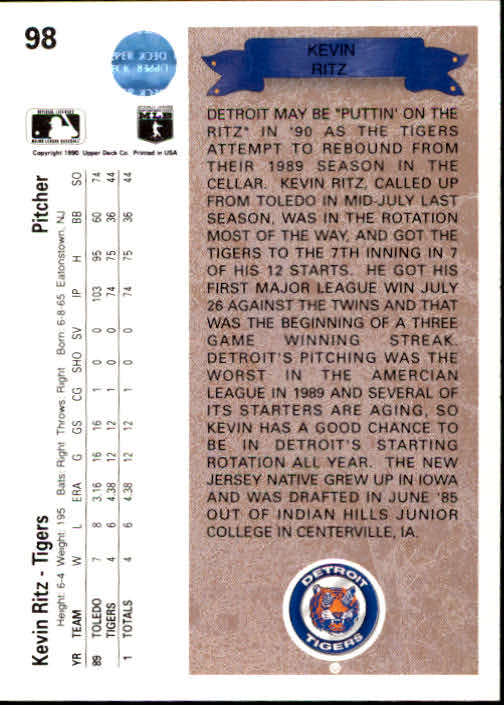 1990 Upper Deck #98 Kevin Ritz UER RC/Amercian back image
