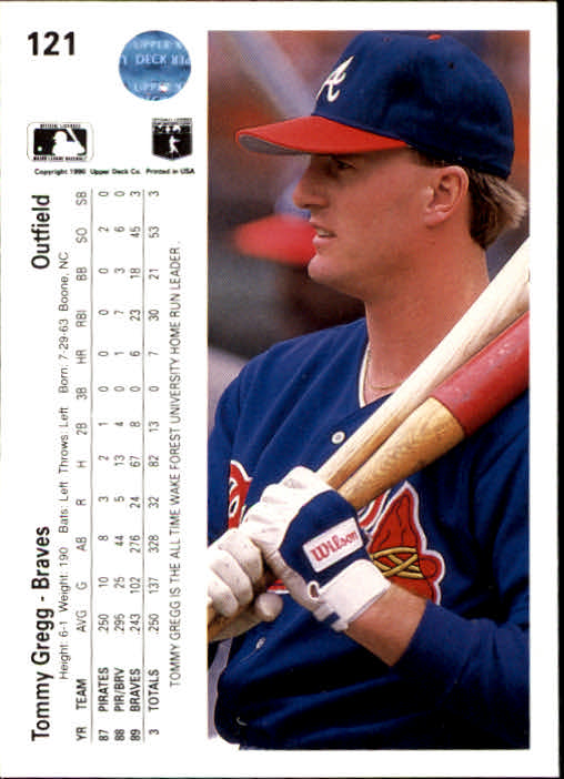 1990 Upper Deck #121 Tommy Gregg back image