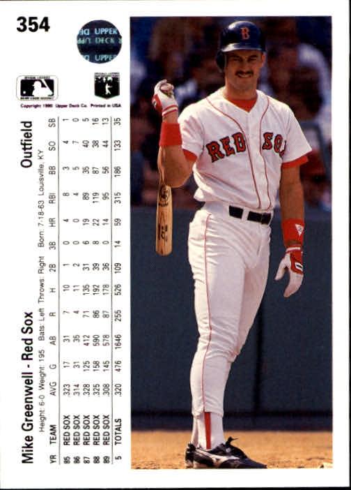 1990 Upper Deck #354 Mike Greenwell back image