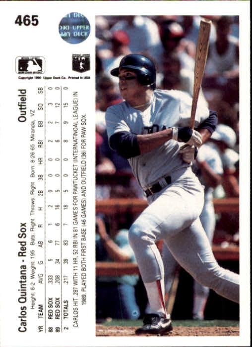 1990 Upper Deck #465 Carlos Quintana UER/Internatinoal back image