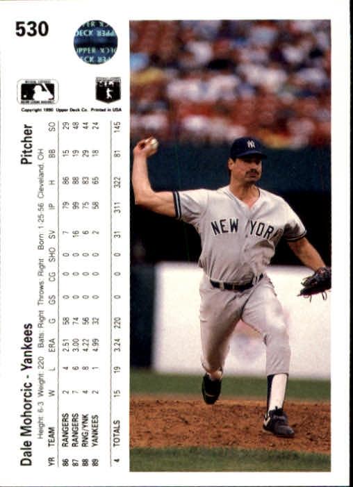 1990 Upper Deck #530 Dale Mohorcic back image