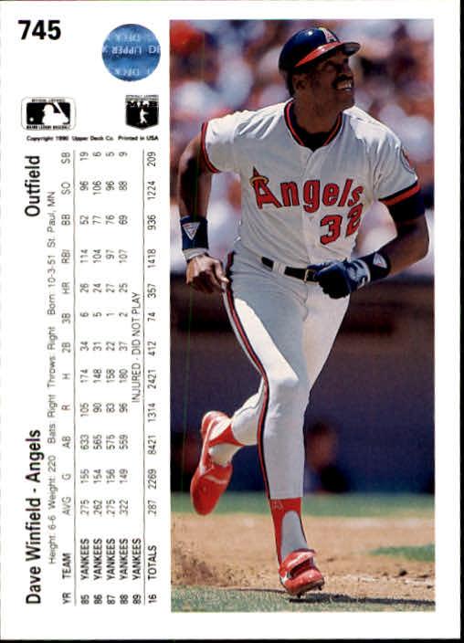 1990 Upper Deck #745 Dave Winfield back image