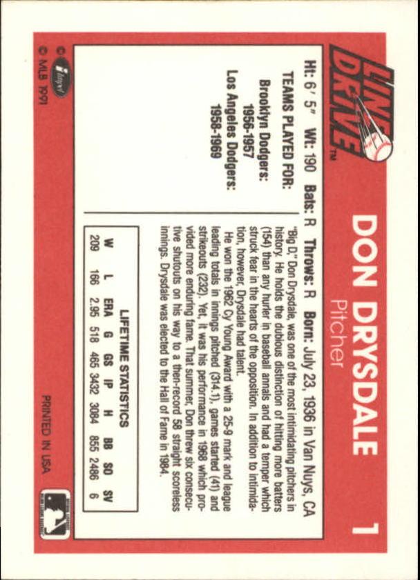 1991 Line Drive #1 Don Drysdale back image
