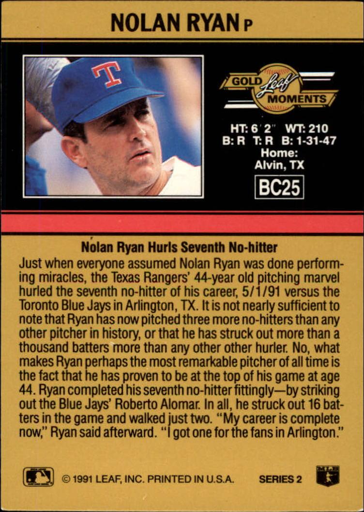 1991 Leaf Gold Rookies #BC25 Nolan Ryan DP back image