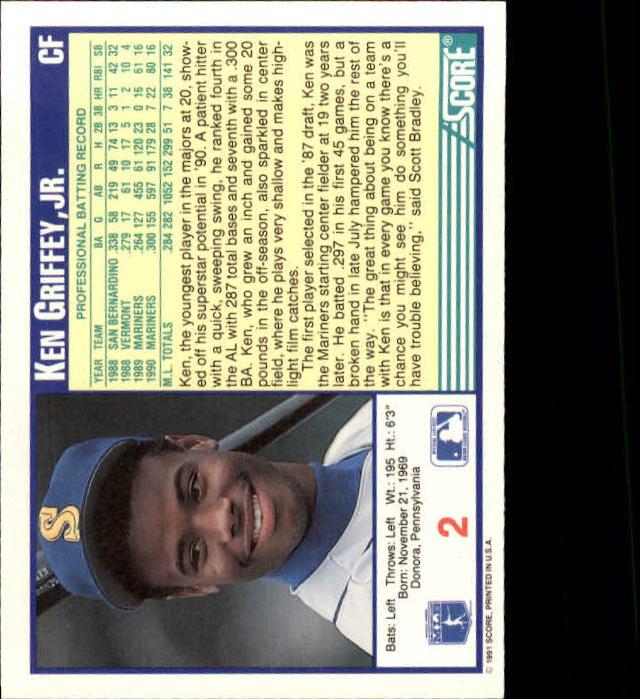 1991 Score #2 Ken Griffey Jr. back image