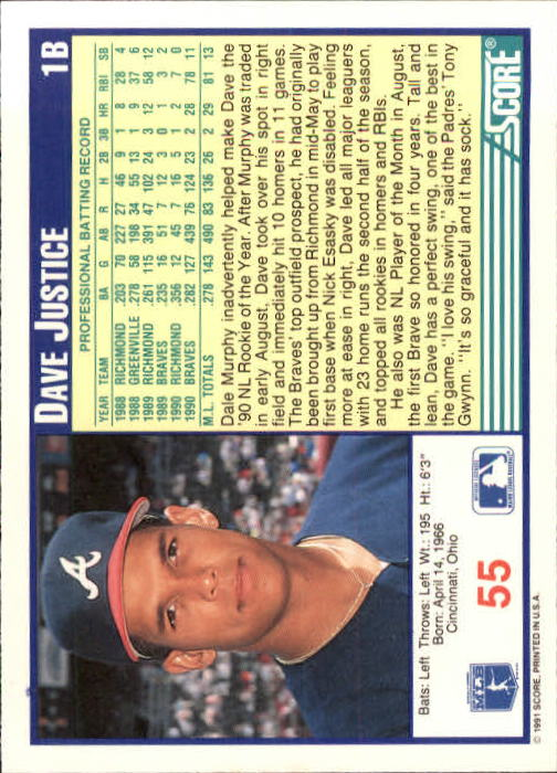1991 Score #55 Dave Justice back image