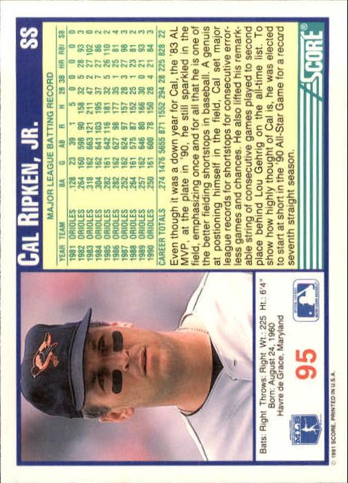 1991 Score #95 Cal Ripken UER/Genius spelled genuis back image