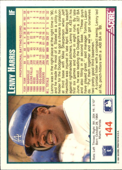 1991 Score #144 Lenny Harris back image