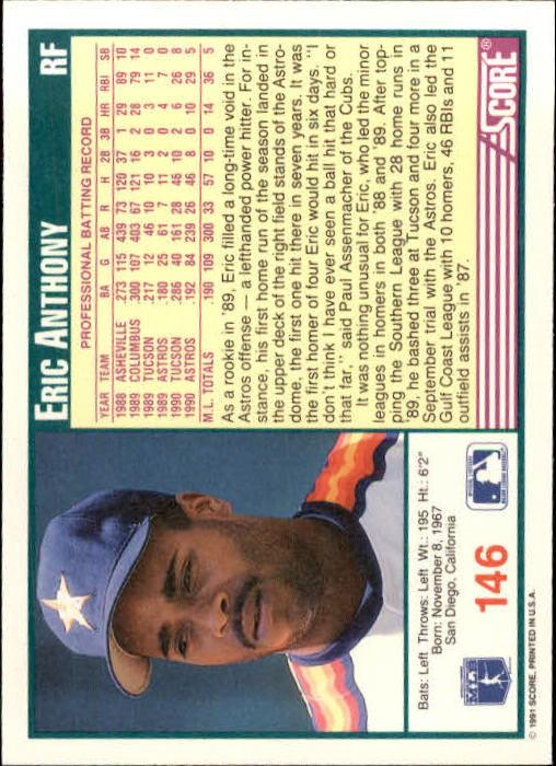 1991 Score #146 Eric Anthony back image
