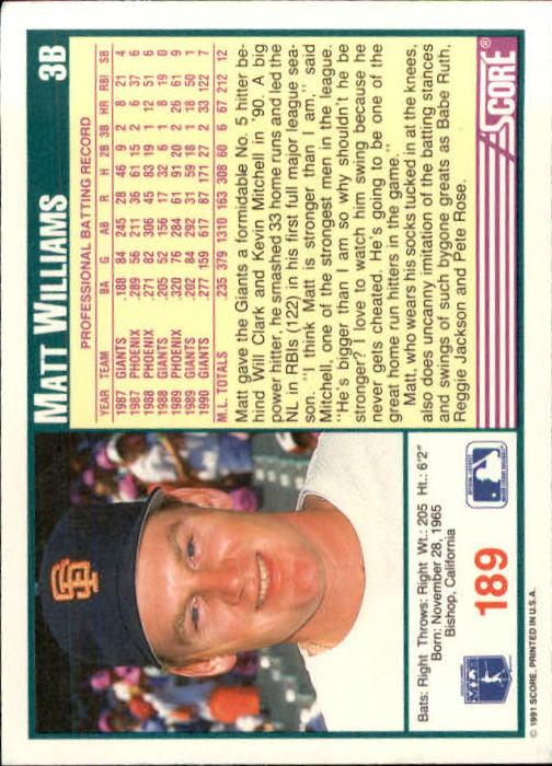 1991 Score #189 Matt Williams back image