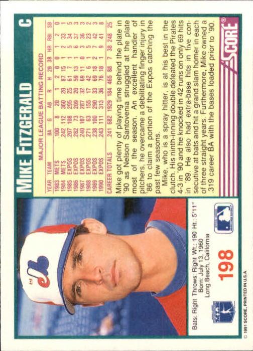 1991 Score #198 Mike Fitzgerald back image
