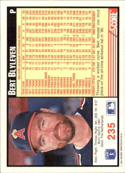 1991 Score #235 Bert Blyleven back image