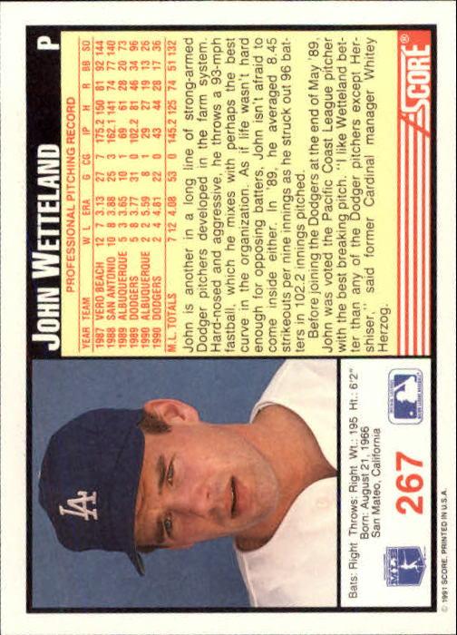 1991 Score #267 John Wetteland back image