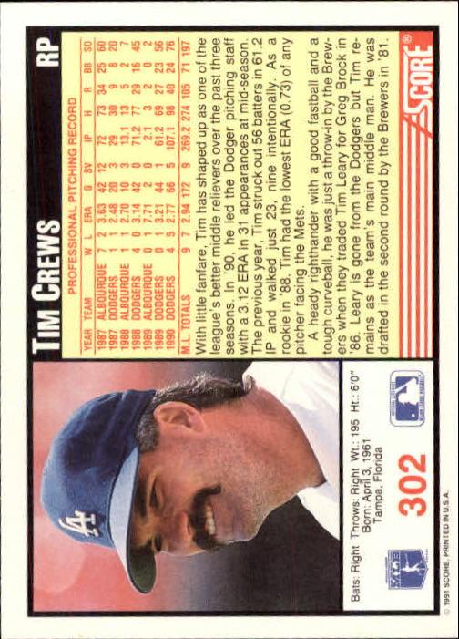 1991 Score #302 Tim Crews back image