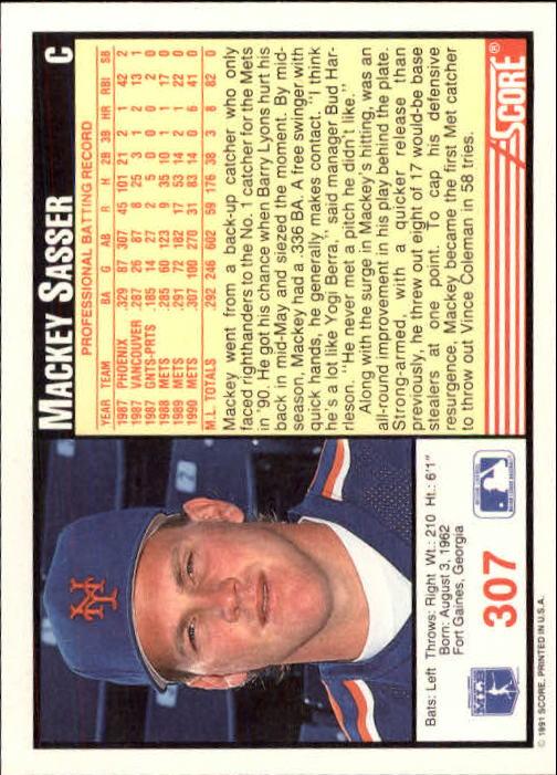 1991 Score #307 Mackey Sasser back image