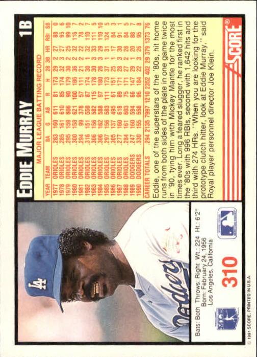 1991 Score #310 Eddie Murray back image