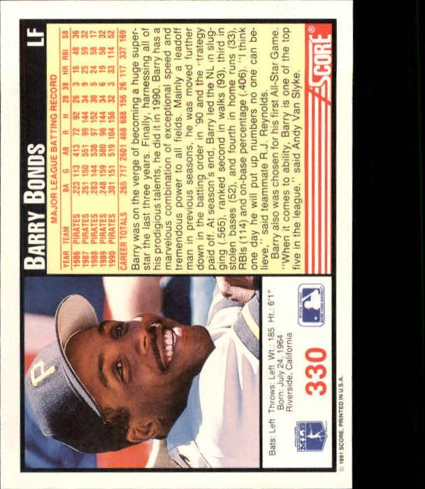 1991 Score #330 Barry Bonds back image
