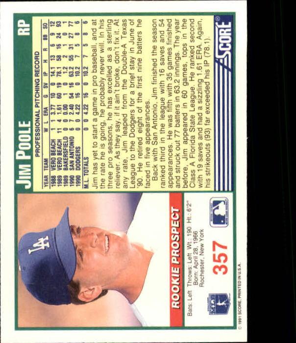 1991 Score #357 Jim Poole back image