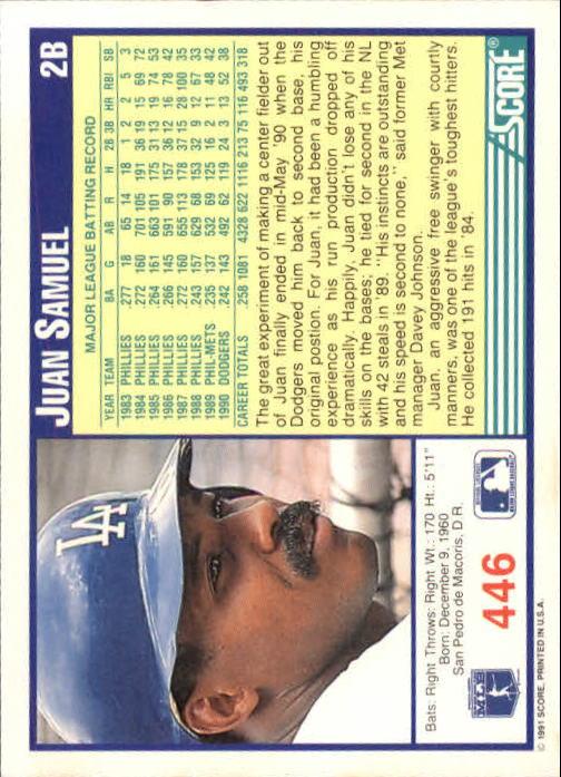 1991 Score #446 Juan Samuel back image