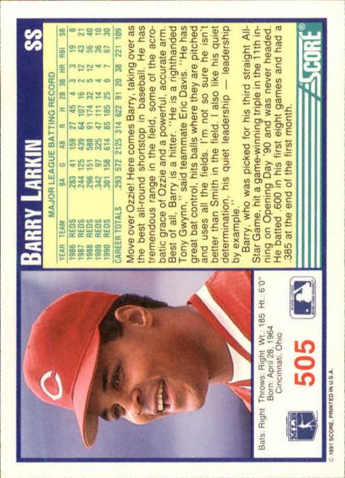1991 Score #505 Barry Larkin back image