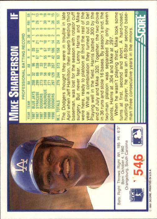 1991 Score #546 Mike Sharperson back image