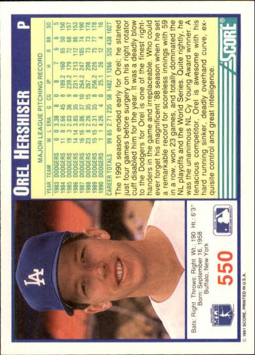 1991 Score #550 Orel Hershiser back image
