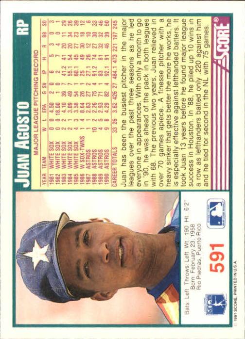 1991 Score #591 Juan Agosto back image