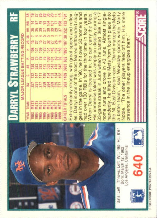 1991 Score #640 Darryl Strawberry back image
