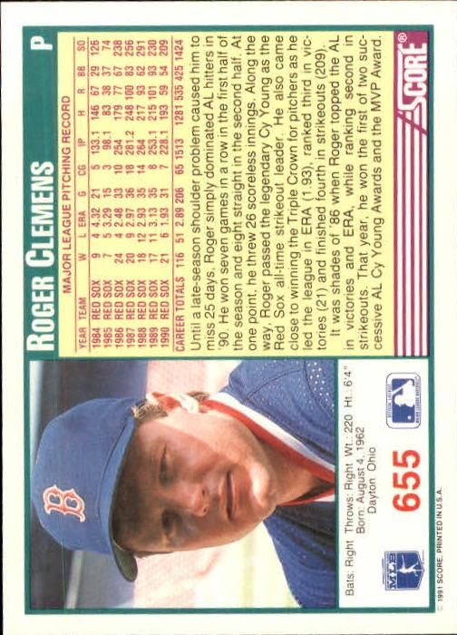 1991 Score #655 Roger Clemens back image