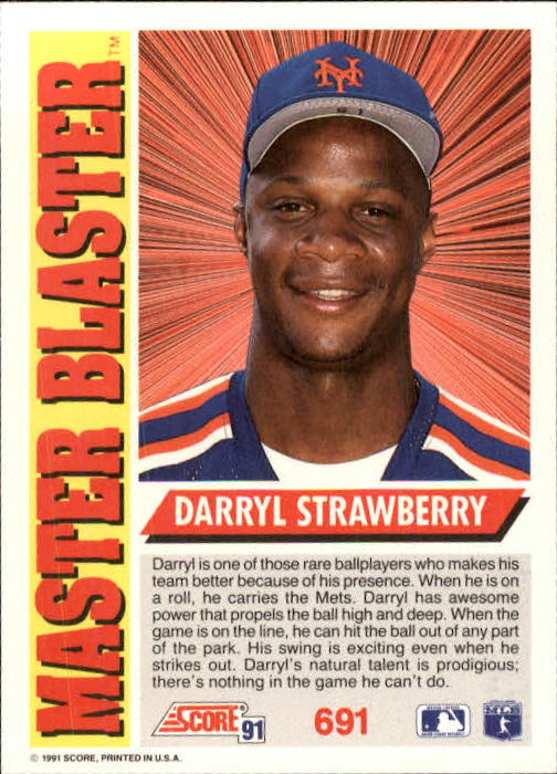 1991 Score #691 Darryl Strawberry MB back image