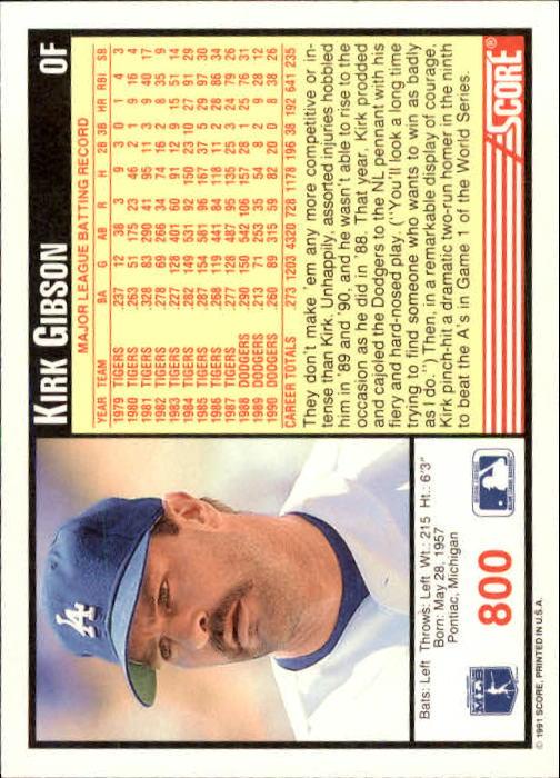 1991 Score #800 Kirk Gibson back image