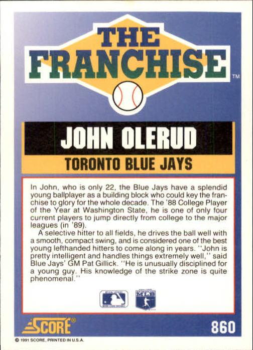1991 Score #860 John Olerud FRAN back image
