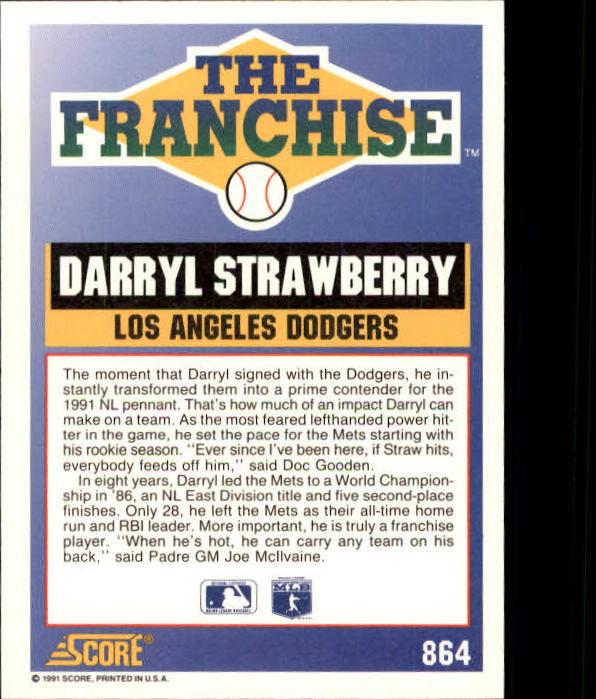 1991 Score #864 Darryl Strawberry FRAN back image
