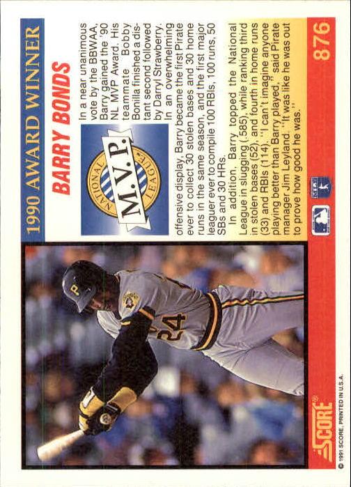 1991 Score #876 Barry Bonds MVP back image