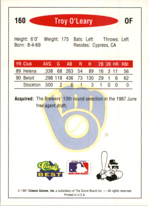 1991 Classic/Best #160 Troy O'Leary back image