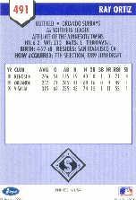 1991 Line Drive AA #491 Ray Ortiz back image