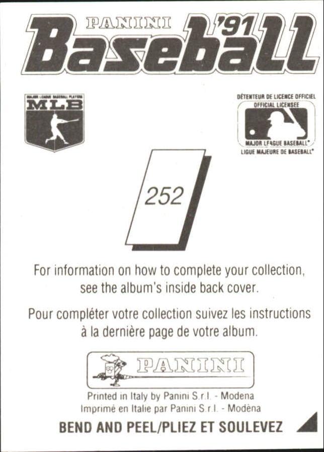 1991 Panini French Stickers #252 Rafael Palmeiro back image