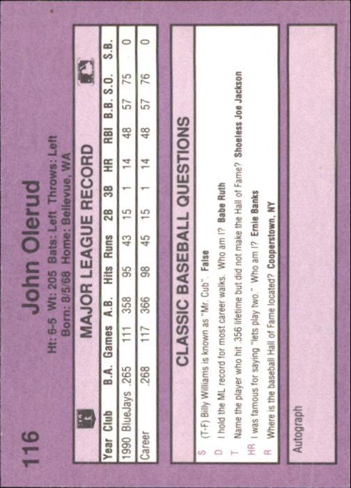 1991 Classic Game #116 John Olerud back image