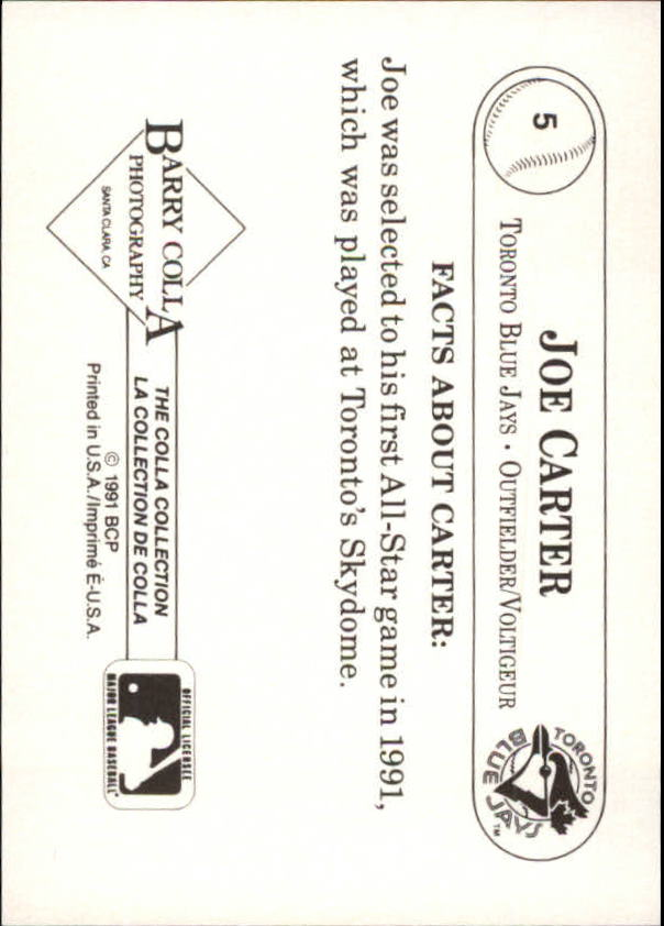 1991 Colla Joe Carter #5 Joe Carter/Kneeling pose, close up back image